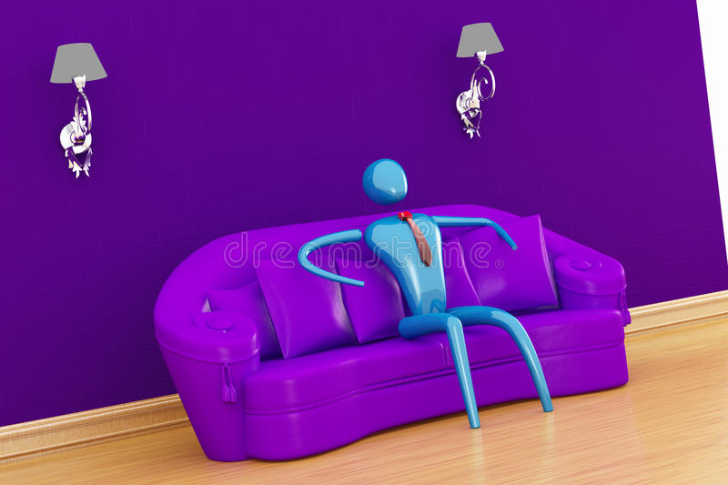 Person relaxing in minimalist interior. Person relaxing in purple minimalist interior royalty free illustration