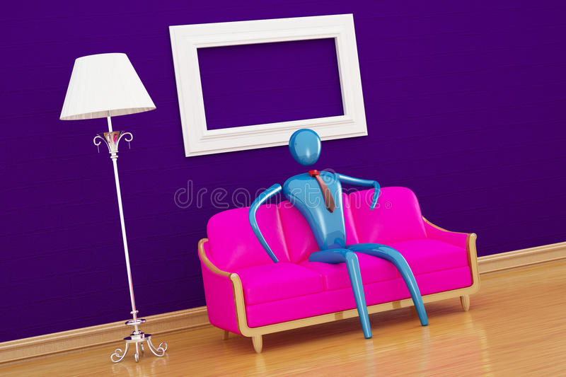 Person relaxing in minimalist interior. Person relaxing in purple minimalist interior stock illustration