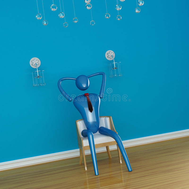 Person relaxing in minimalist interior. Person relaxing in blue minimalist interior vector illustration