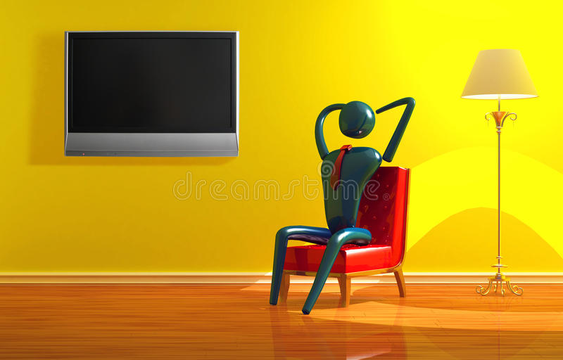 Person relaxing in yellow interior. Person relaxing with LCD tv in yellow minimalist interior vector illustration