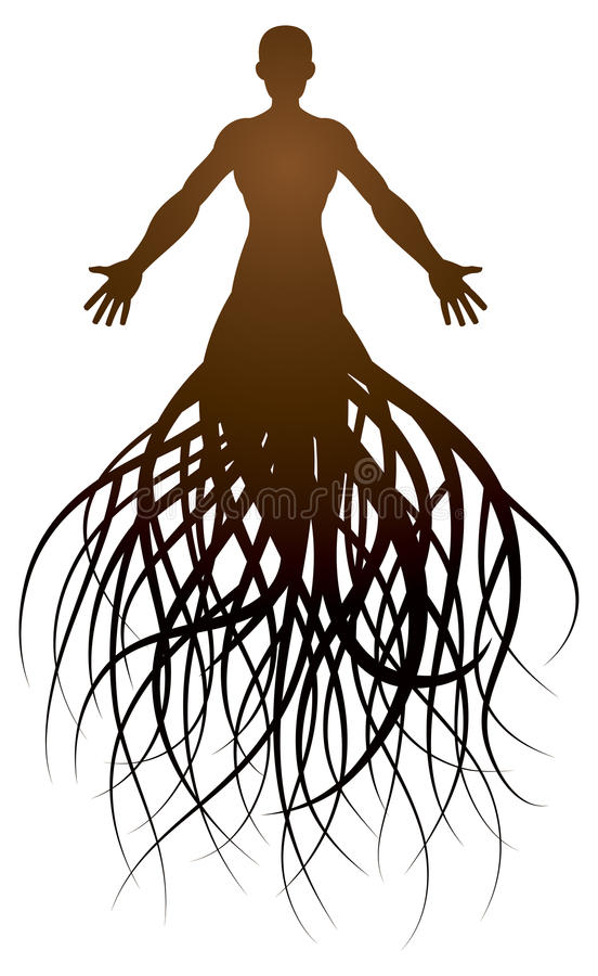 Person Roots Logo royaltyfri illustrationer