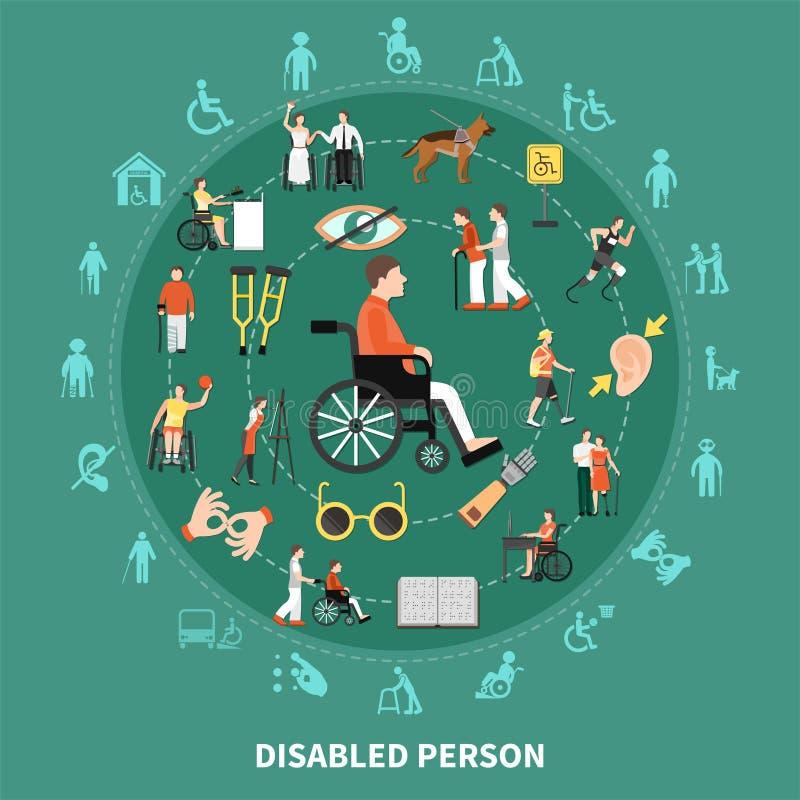 Person Round Composition disabile illustrazione di stock