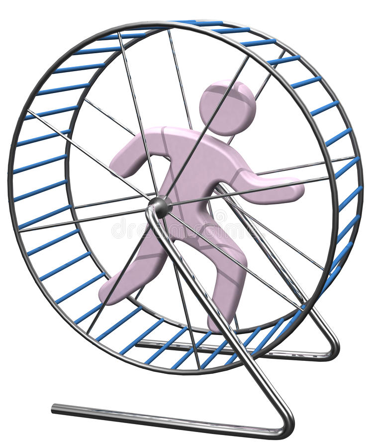 Person run in treadmill rat cage. Person gets nowhere running in a hamster mouse or rat cage wheel treadmill royalty free illustration