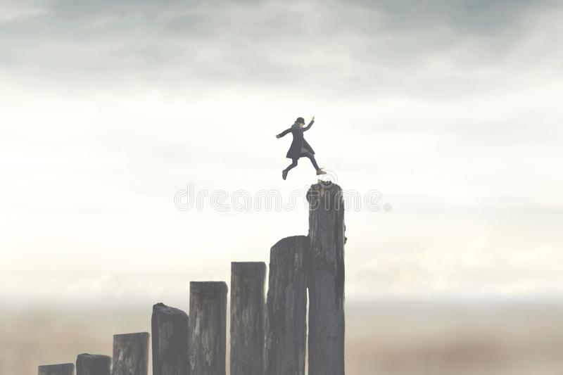 Person running fast to successfully reach the top. A person running fast to successfully reach the top royalty free stock photo
