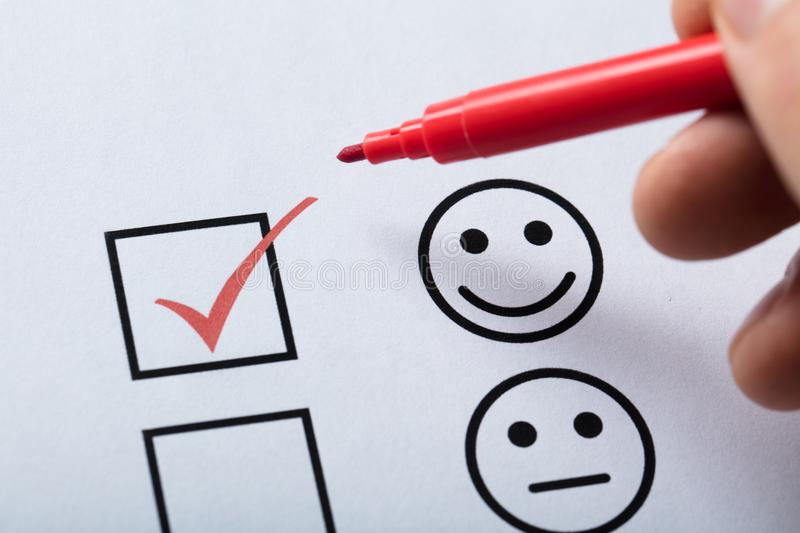 Tick Placed In Customer Service Satisfaction Survey Form royalty free stock images