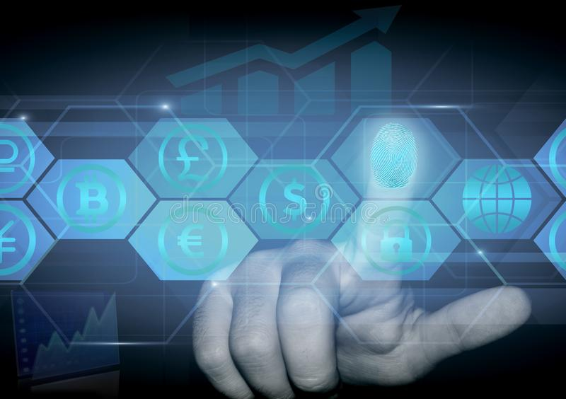 A person`s finger presses a hologram with signs of various currencies. royalty free stock images
