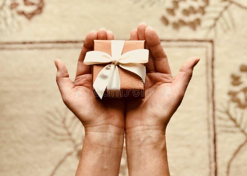 Person' s hält Brown-Geschenkbox stockbild