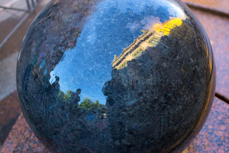 A person`s reflection in the ball. Of the city of St. Petersburg stock images