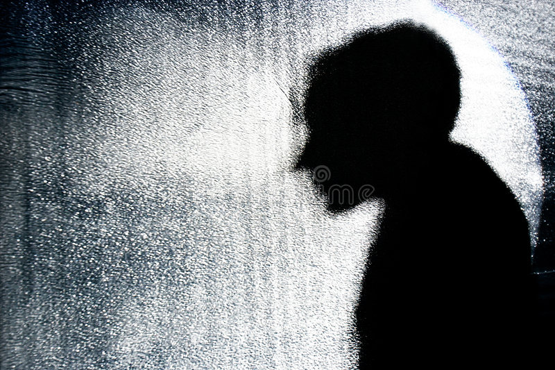 Person S Silhouette Behind Glass Wall Stock Photos