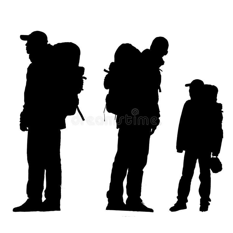 Person's silhouette. The silhouette of hikers isolated on a white background royalty free stock photography