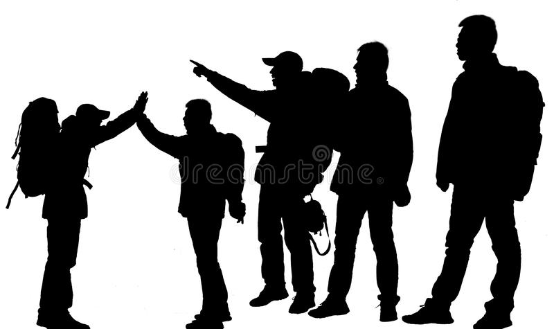 Person's silhouette. The silhouette of hikers isolated on a white background stock photography