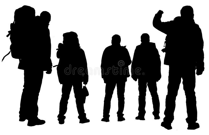 Person's silhouette. The silhouette of hikers isolated on a white background royalty free stock photo