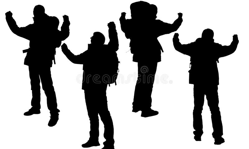 Person's silhouette. The silhouette of hikers isolated on a white background stock images