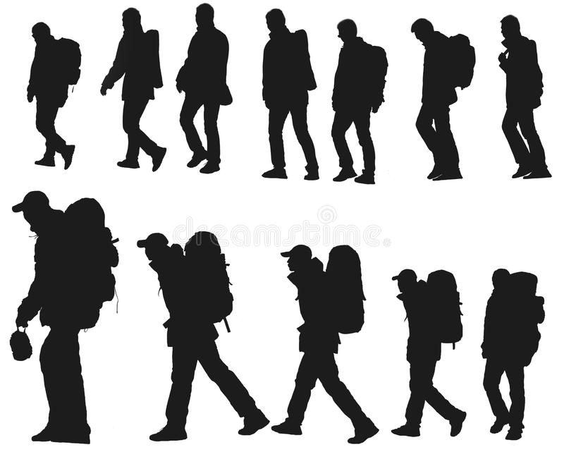 Person's silhouette. The silhouette of hikers isolated on a white background stock photo