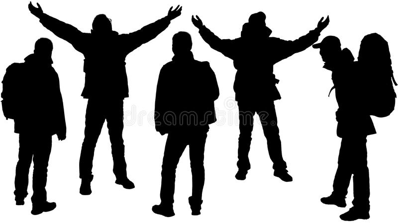 Person's silhouette. The silhouette of hikers isolated on a white background stock image