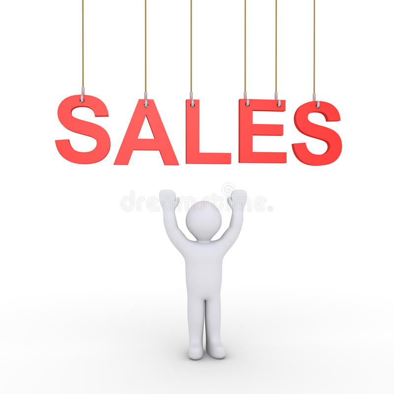 Person sales offering stock illustration