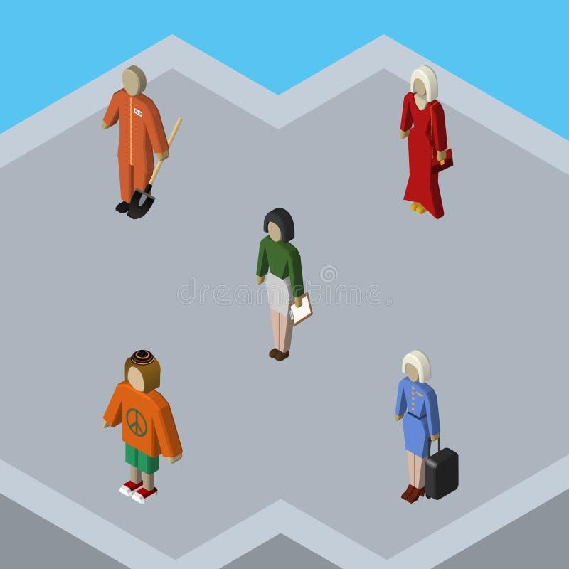 Person Set Of Cleaner isométrico, señora, pedagogo y otros objetos del vector También incluye a la muchacha, presentadora, educad stock de ilustración