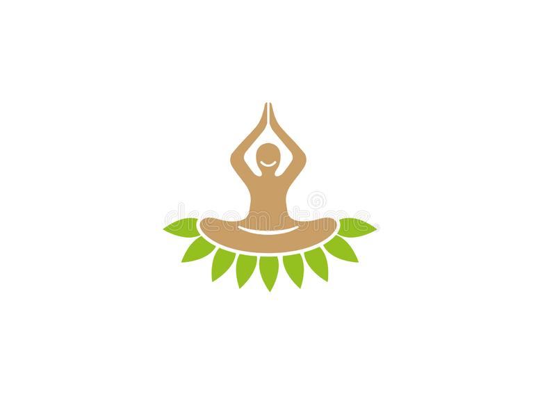 Person set on leaves hands up and smile doing meditation and yoga for health Green for logo design royalty free illustration