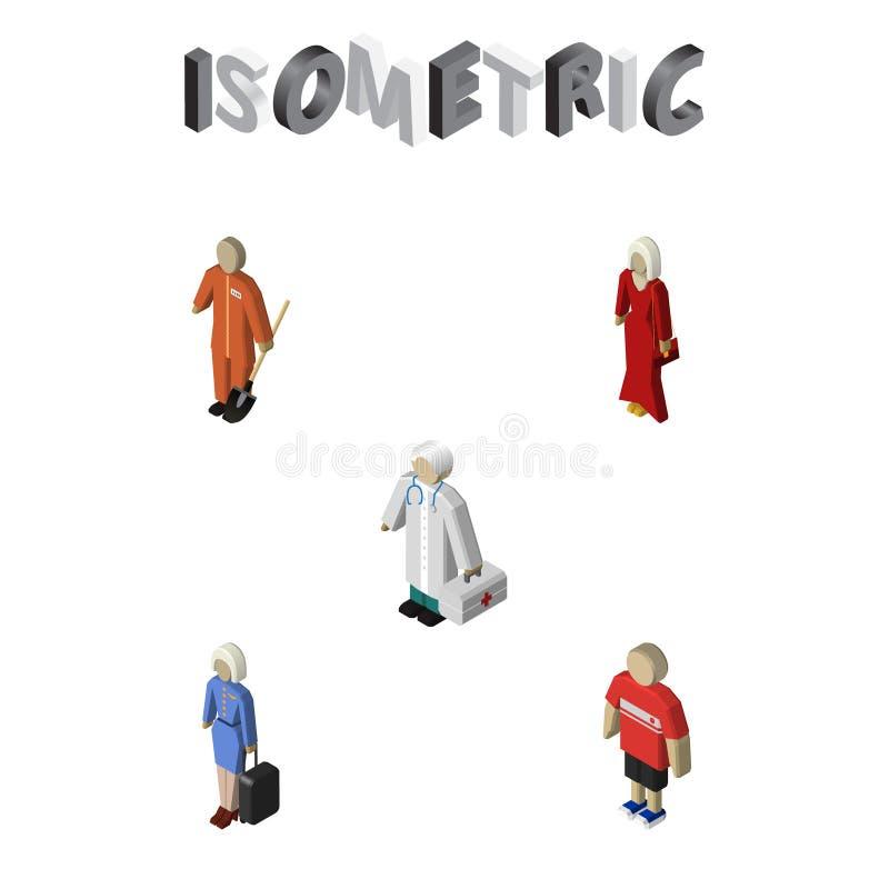 Person Set Of Medic isométrico, aeromoça, fêmea e outros objetos do vetor Igualmente inclui o líquido de limpeza, menina, element ilustração royalty free