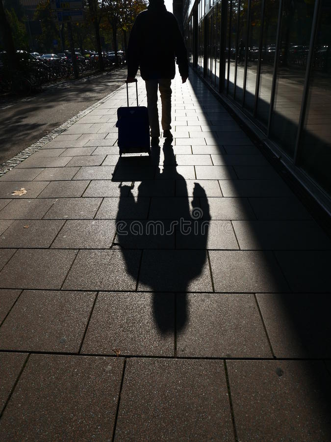 Person shadow town stock photo