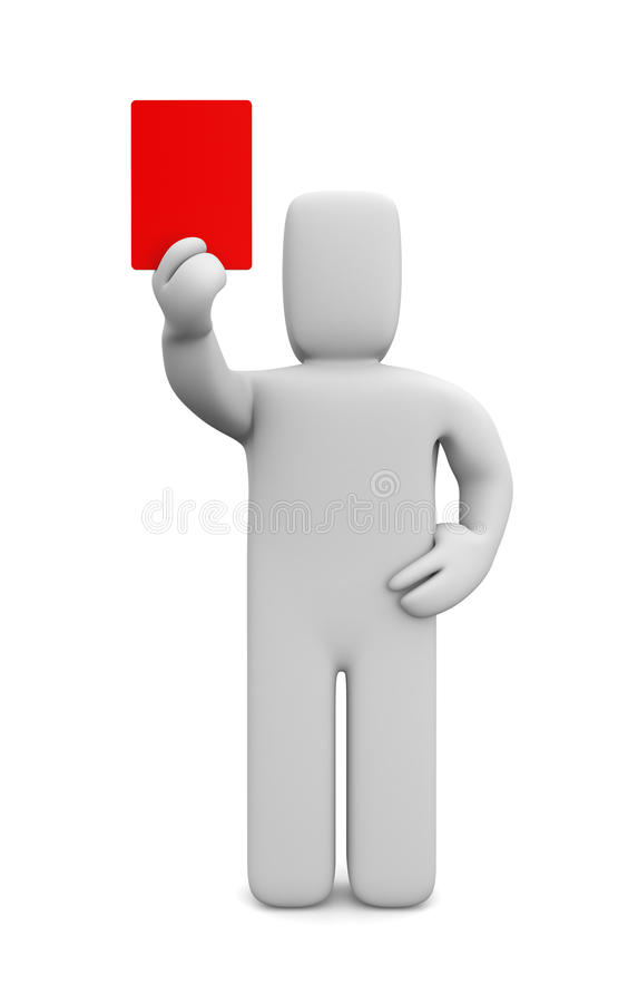 Person showing a red card. Image contain the clipping path stock illustration