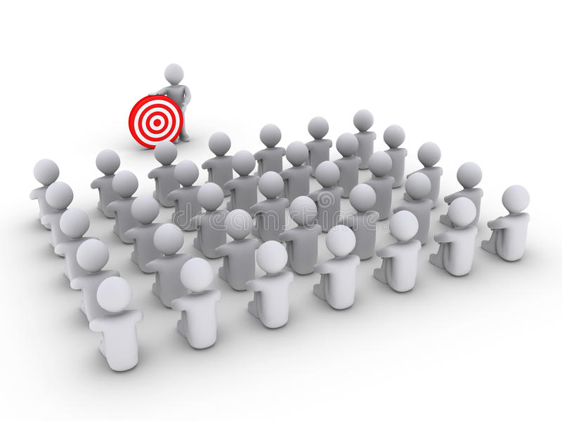 Person Is Showing A Target To Many Others Royalty Free Stock Photography