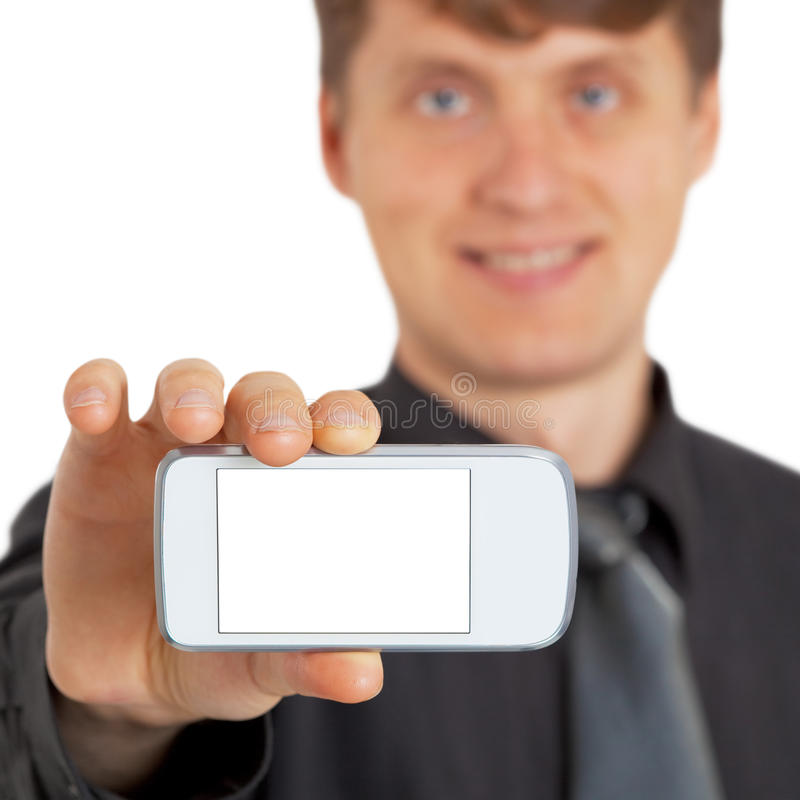 Person shows new gadget. The person shows a new gadget on white royalty free stock image