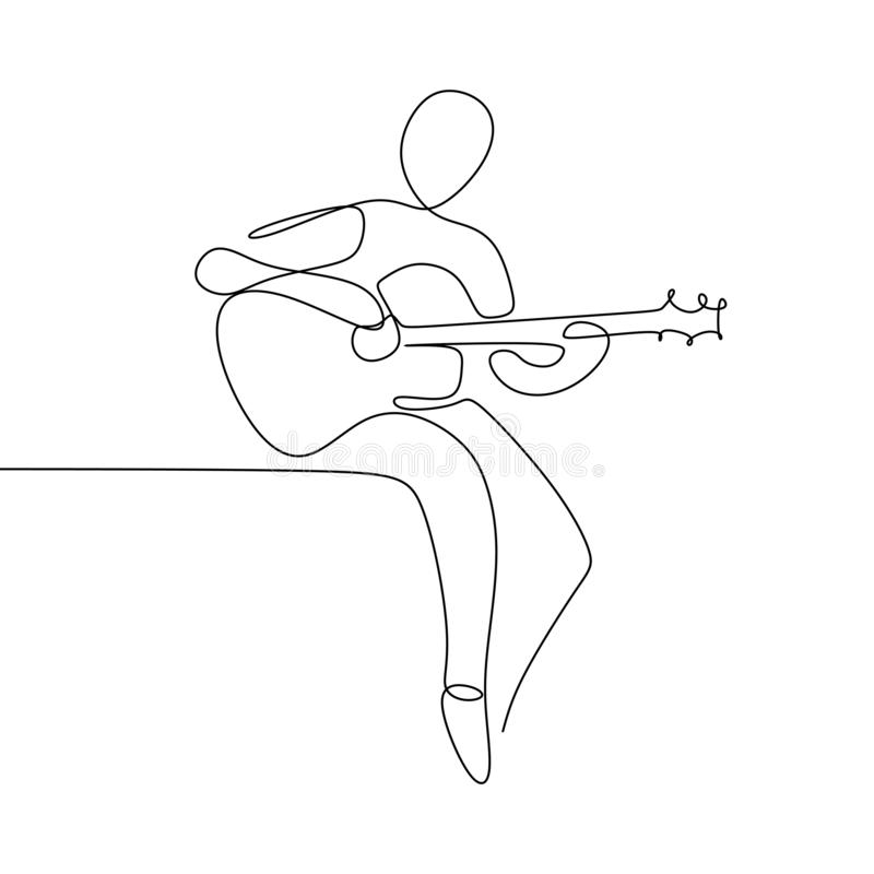 Person sing a song with acoustic classical guitar continuous one line art drawing vector illustration minimalist design vector illustration