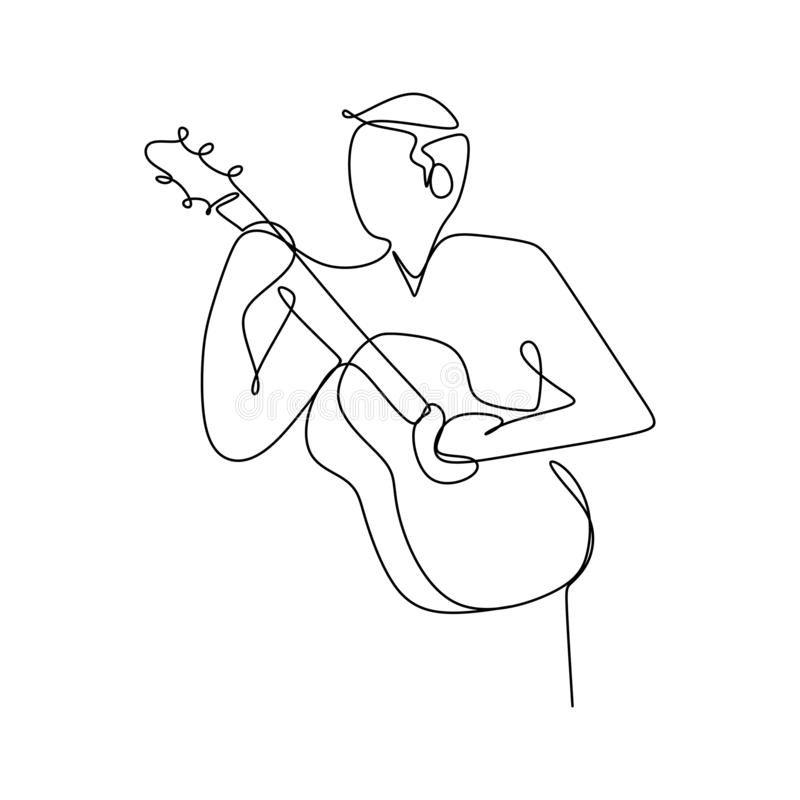 Person sing a song with acoustic guitar continuous one line art drawing vector illustration minimalist design stock illustration