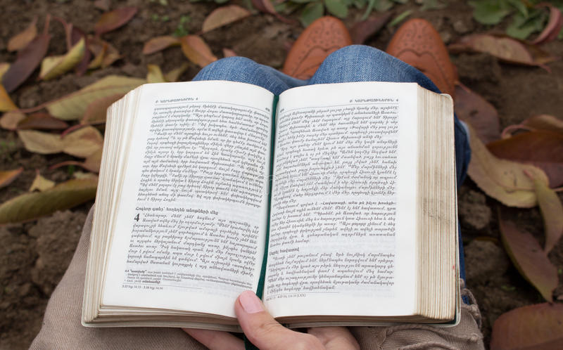 Person sitting on the ground reading a book(Bible). Person sitting on the leafes reading a book(Bible). Holy Bible stock images