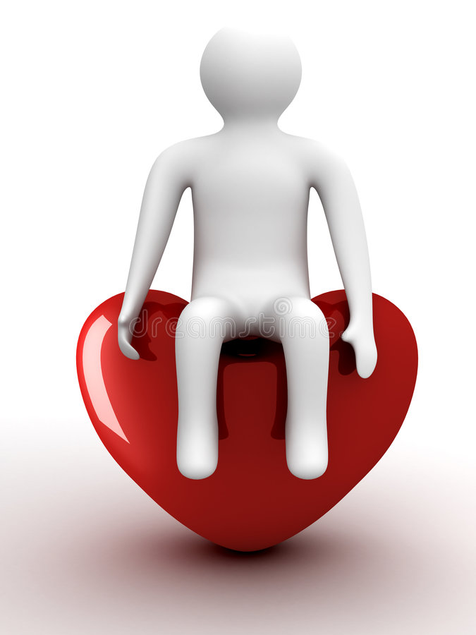 Person sitting on heart. Isolated 3D image royalty free illustration