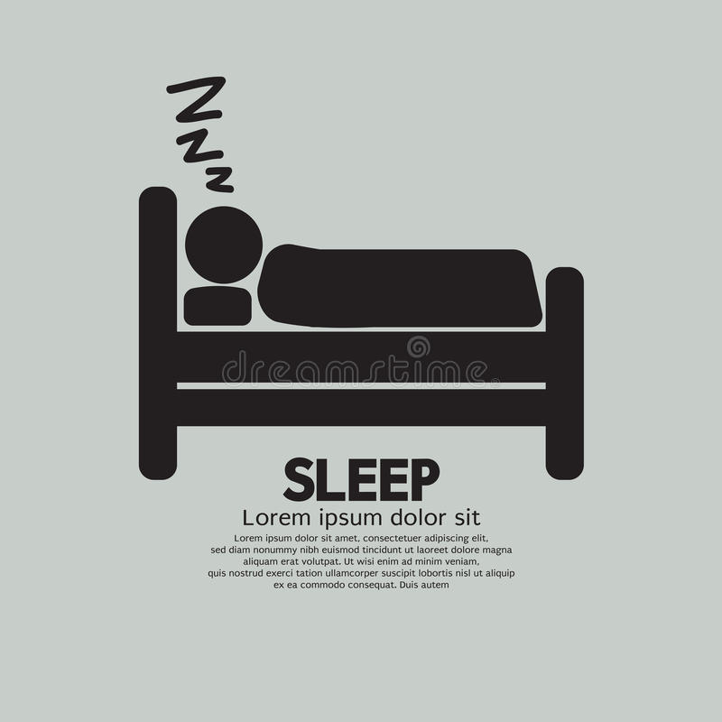 Person Sleeping In Bed Symbol ilustración del vector