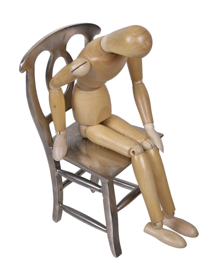 Free Person Slumped Down On Metal Chair Royalty Free Stock Image - 43500016