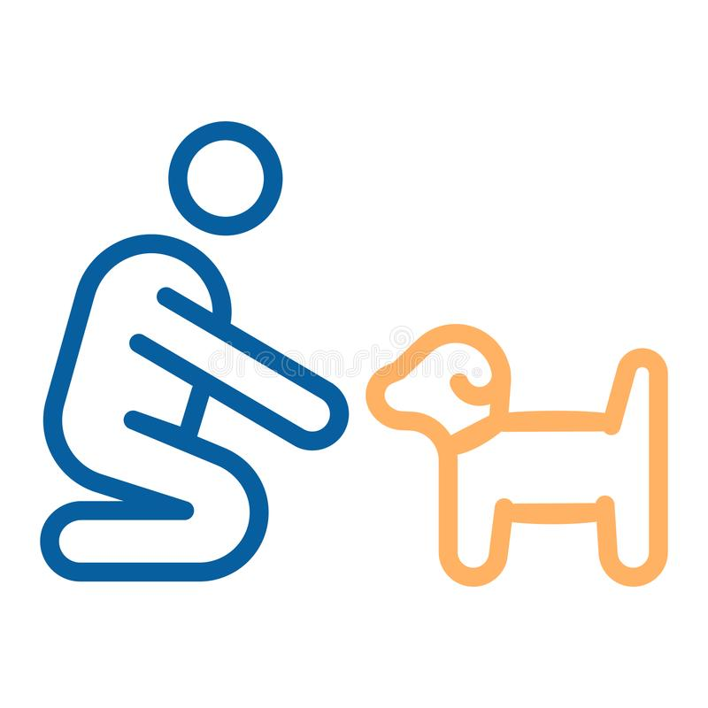 Person with small dog or puppy icon. Vector thin line illustration. Can fit different concepts. Pet training. Adoption, helping abandoned animal, feeding, love stock illustration