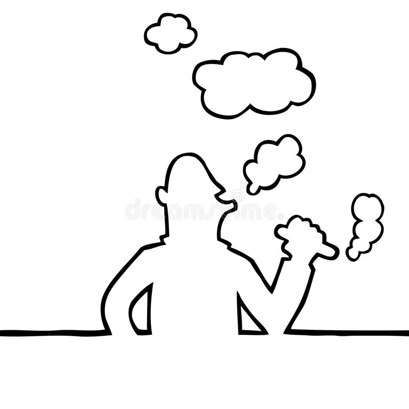 Person smoking a cigar. Black and white illustration of person smoking a thick cigar stock illustration