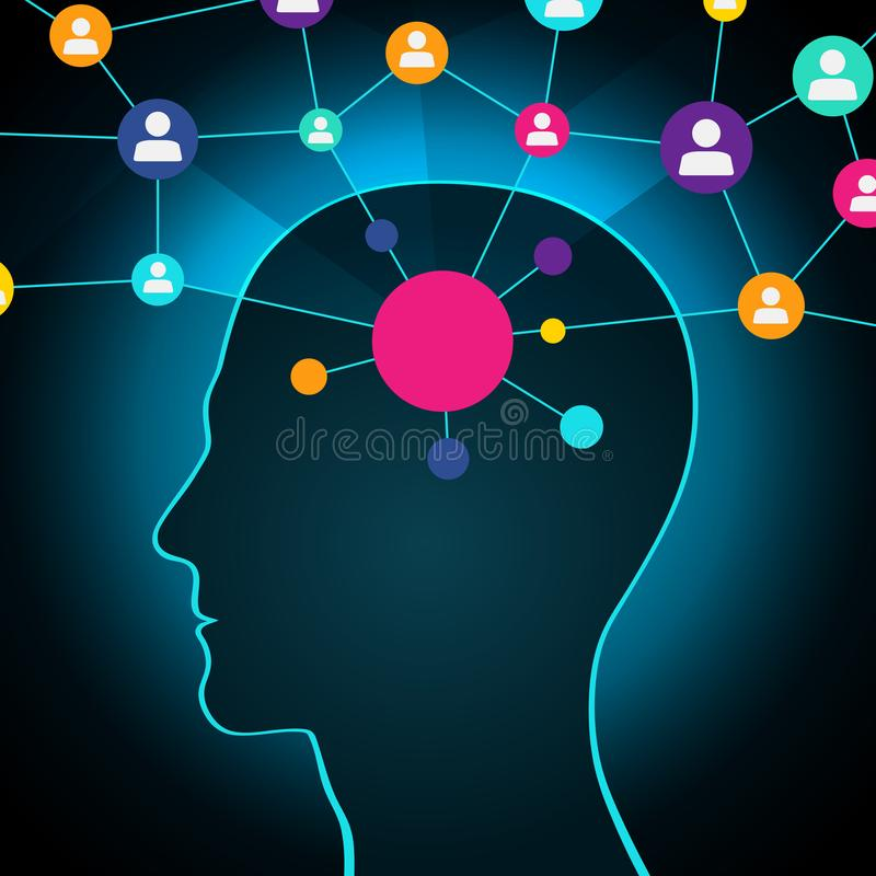 Person in a social network, communication, contacts, business. global network in the head. Flat design, icons. A person in a social network, communication vector illustration