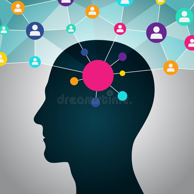 Person in a social network, communication, contacts, business. Global network in the head. Flat design, icons stock illustration