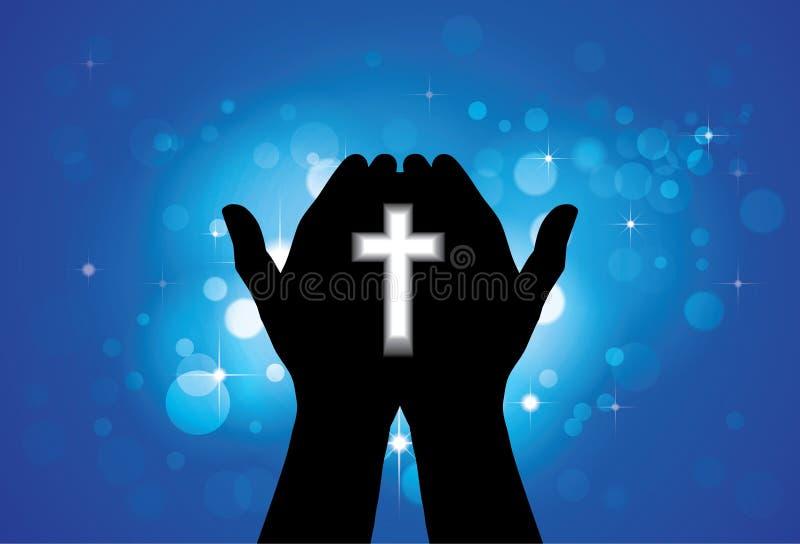 Person som ber eller tillber med helgedomkorset i hand stock illustrationer