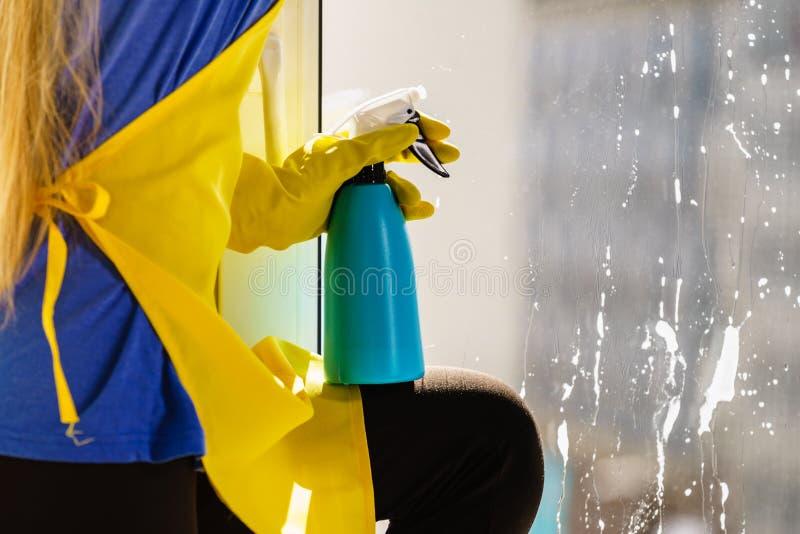 Person som besprutar fönsterlokalvårdtvättmedel royaltyfria foton
