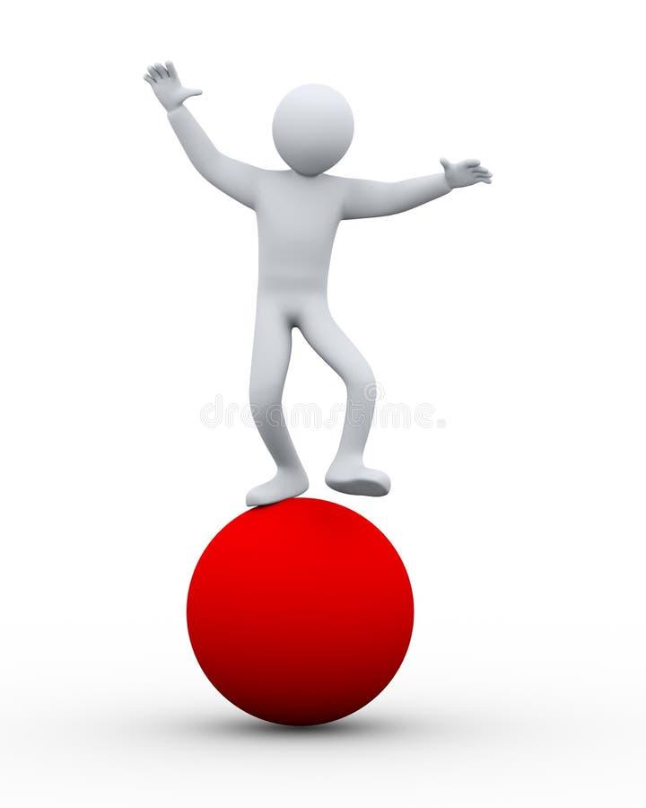 person som 3d balanserar på boll royaltyfri illustrationer