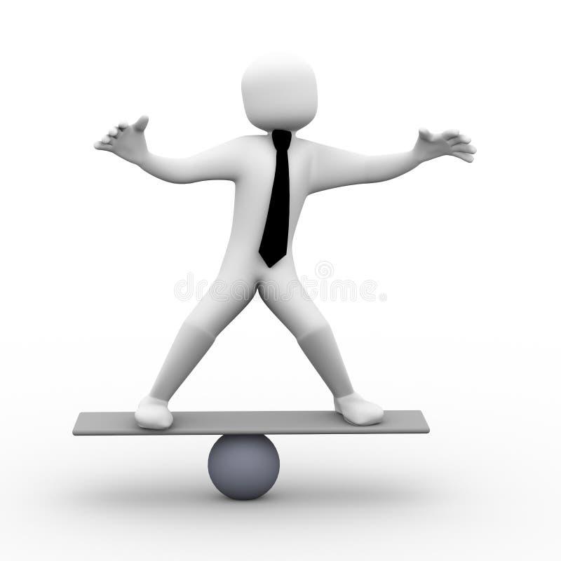 person som 3d balanserar på skalaillustration stock illustrationer