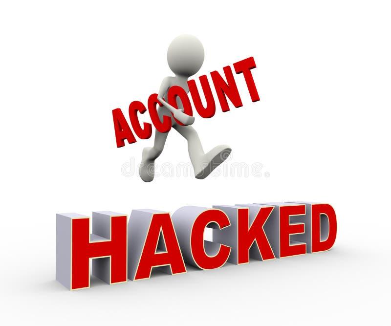 person som 3d hoppar över hackat konto stock illustrationer