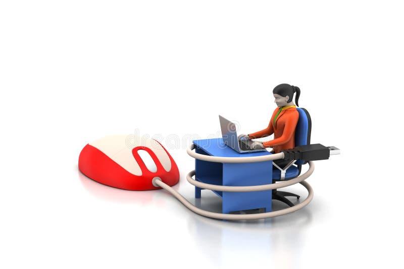 person som 3d pratar med bärbara datorn royaltyfri illustrationer