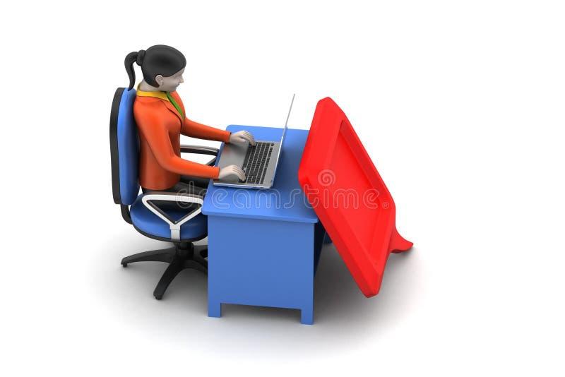 person som 3d pratar med bärbara datorn stock illustrationer