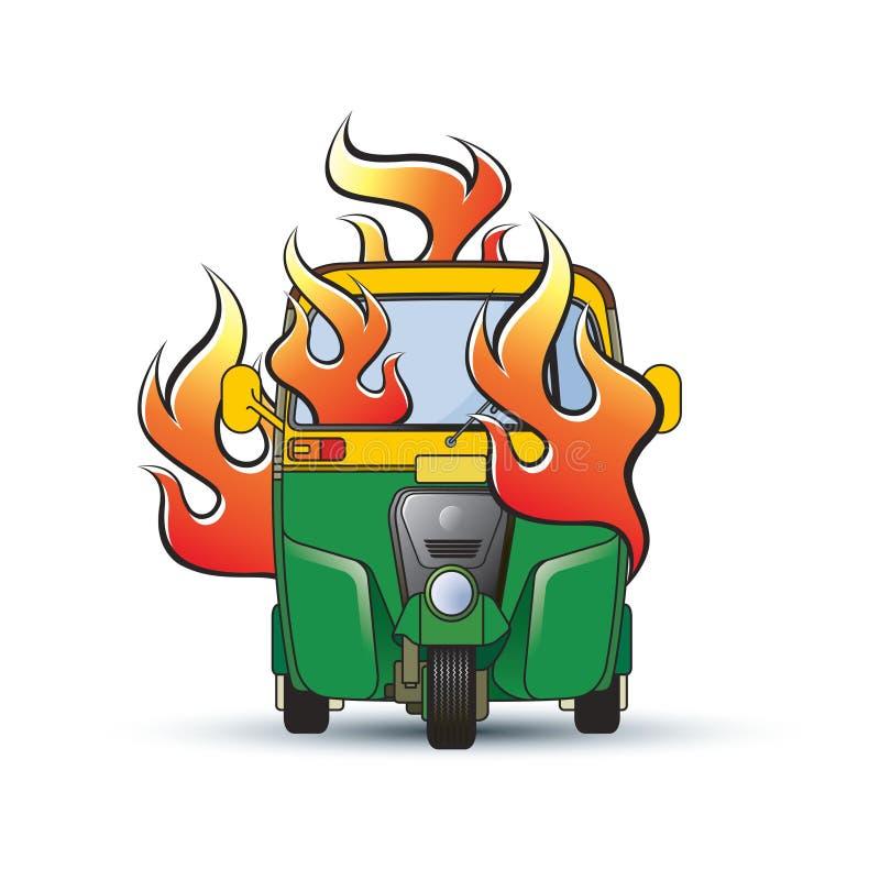 Person som drar en skottkärra tre med brandvektorteckningen stock illustrationer