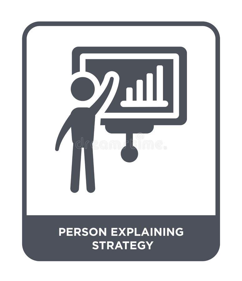 person som förklarar strategisymbolen i moderiktig designstil person som förklarar strategisymbolen som isoleras på vit bakgrund  royaltyfri illustrationer