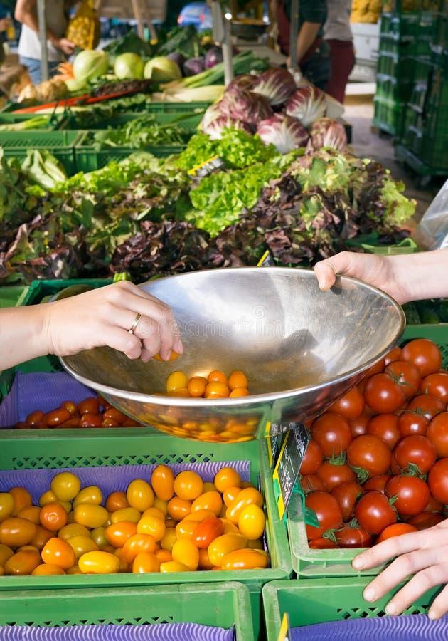 Person som köper nya tomater på en lantgårdstall royaltyfri fotografi