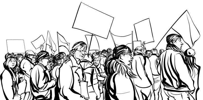 Person som protesterarfolkmassa som går i en demonstration stock illustrationer