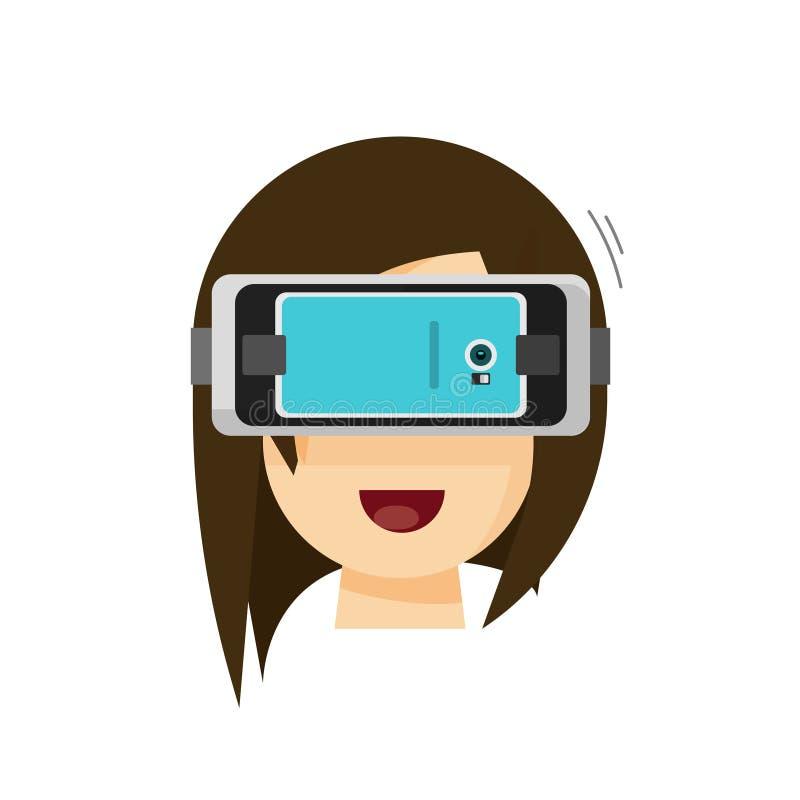Person som spelar virtuell verklighetexponeringsglashjälmen via mobiltelefonvektor stock illustrationer
