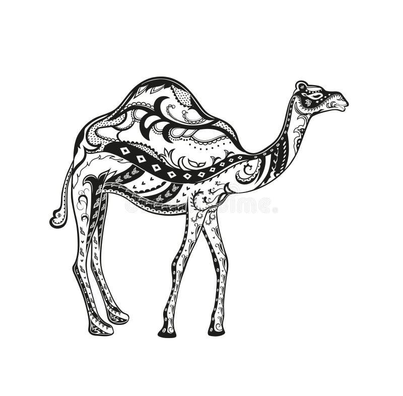 Person som tillhör en etnisk minoritet smyckad kamel stock illustrationer